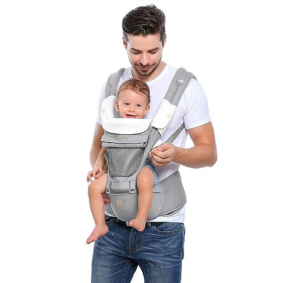 GAGAKU Portabebés con Asiento de Cadera 8 en 1 Ergonómica Mochila Porta Bebé para Recién Nacido Niños Pequeños - Gris: Amazon.es: Bebé