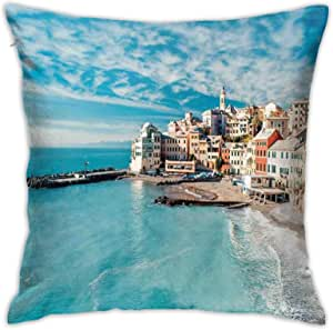 Throw Pillow Cover Case Panorama Of Old Italian Fish Village Beach Old Province Coastal Charmpolyester Cushion Covers For Sofa Kitchen Car Boy Girls Bedroom Livingroom 18 X 18 Inch Pillow Case Home Kitchen