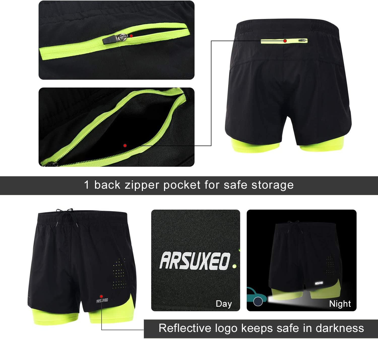 ARSUXEO Mens Active Training Running Shorts 2 in 1