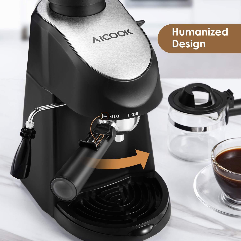 AICOOK - Cafetera de vapor (5 bar, con boquilla de espuma de leche, para café espresso Cappuccino Latte de 1 a 4 tazas, 900 W, sin BPA)