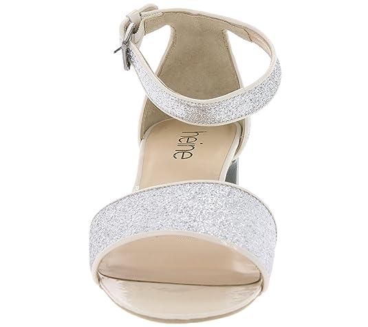 cdaa9122d835 Heine Schuhe Sandalen Damen Glitzer Sandaletten Fersenriemchen Silber,  Größenauswahl 40  Amazon.de  Schuhe   Handtaschen