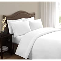 Huesland 200 TC Cotton Single Bedsheet with Pillow Cover - Solid, White