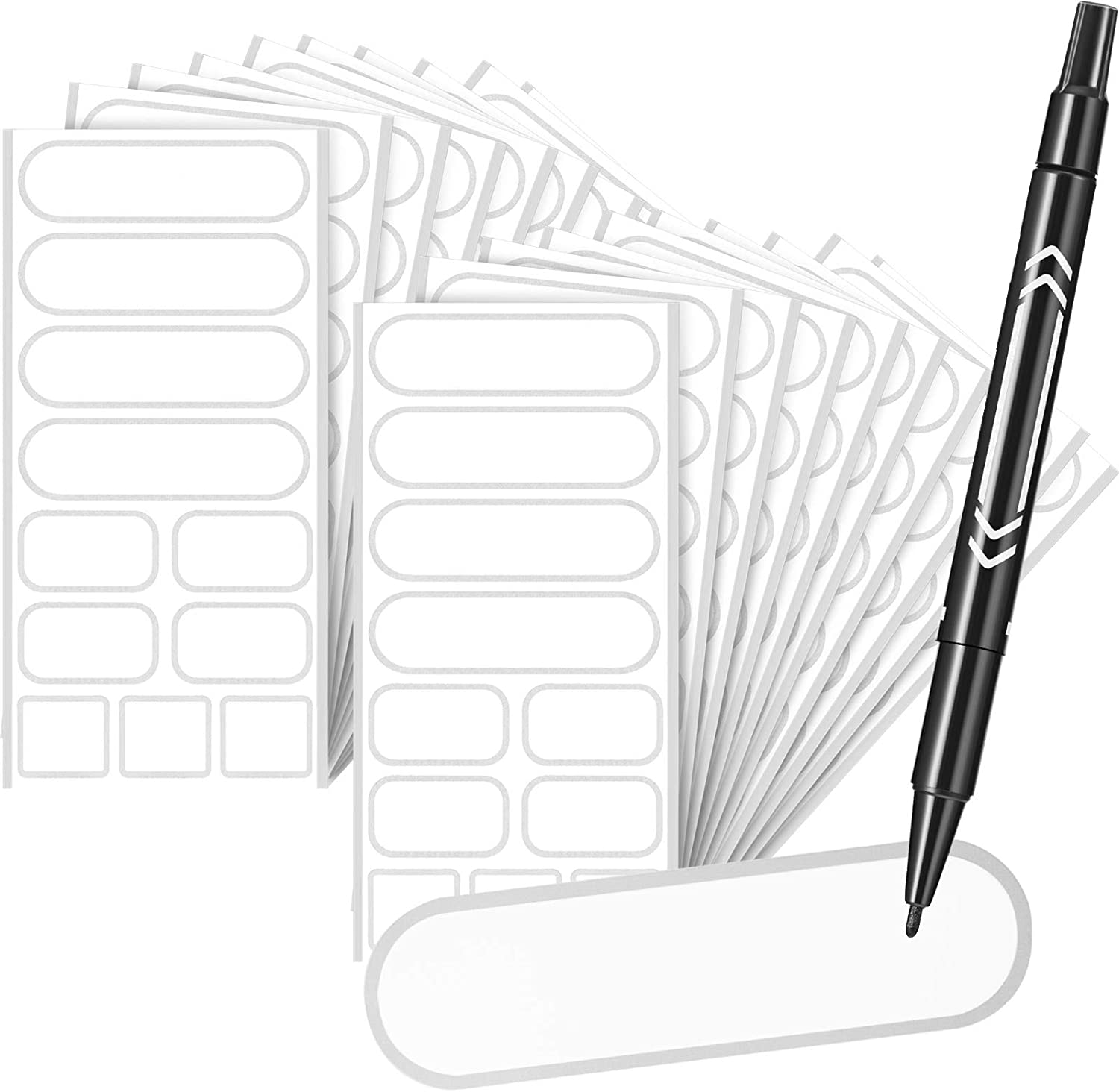 Removable Food Labels Stickers Waterproof Kitchen Labels for POP Food Storage, Home Organization with Marker Pen, 3 Sizes (Silver,264 Pieces)