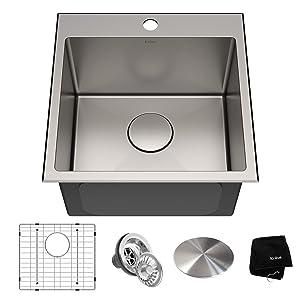 Kraus KHT301-18 Standart PRO Kitchen Stainless Steel Sink, 18 inch, 18 inch