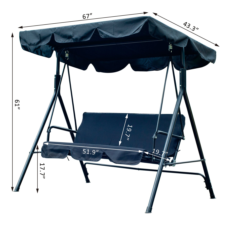 Cool Outsunny 3 Person Canopy Porch Swing Black Inzonedesignstudio Interior Chair Design Inzonedesignstudiocom