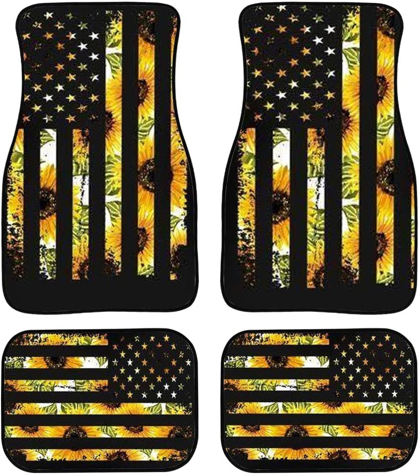 Amzbeauty Retro Sunflower American Flag Design Car Floor Mats All Weather Rubber Backing Non-Slip Universal Front /& Rear Automotive-Auto Carpets