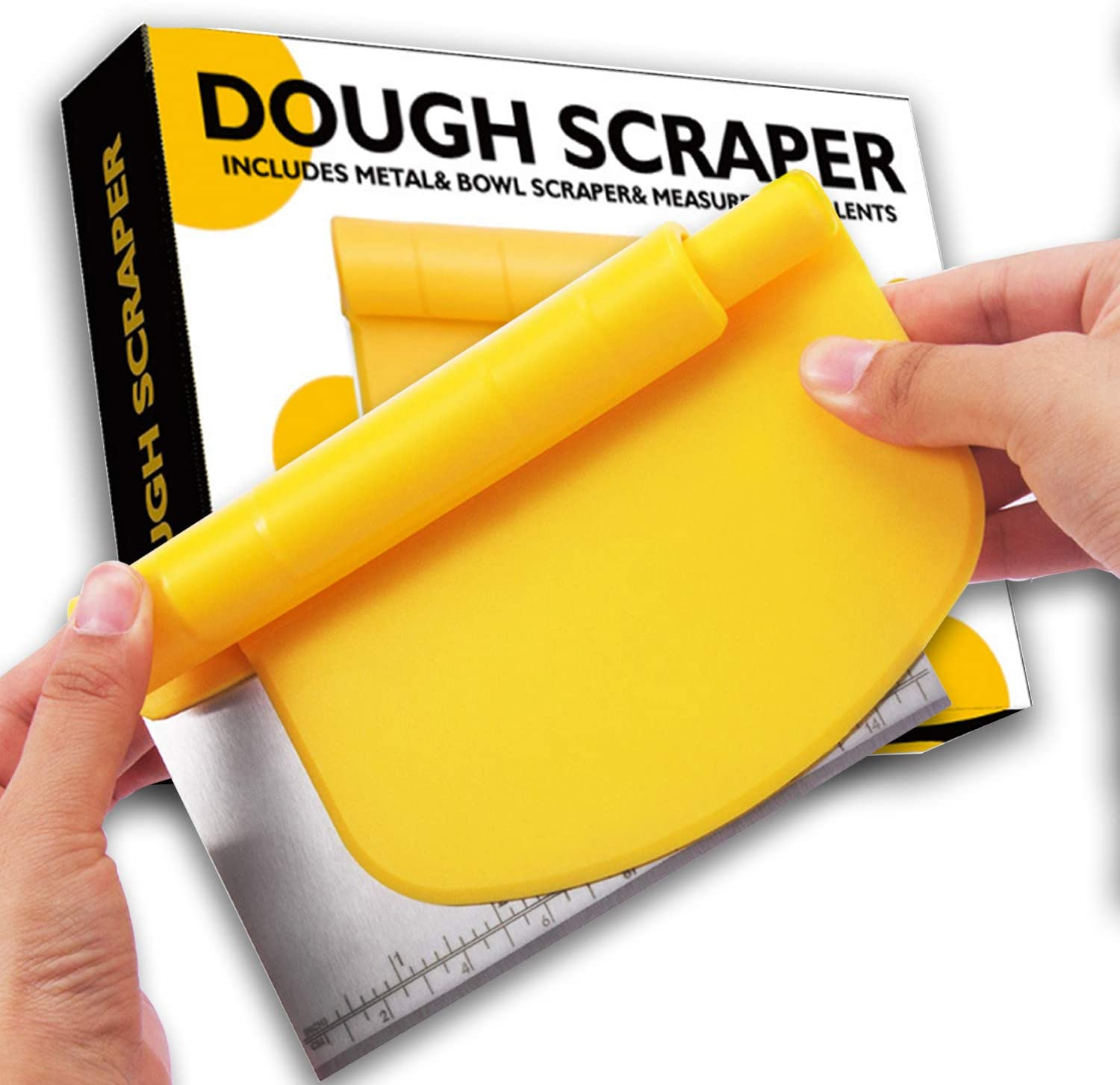Pro Dough Pastry Scraper/Chopper And Flexible Plastic Bowl Scraper set, Multi-function Cake, Baking Tool With Measuring Function, 2 in 1 Kitchen Scraper, Used For Making Pizza, Bread And Pastry.