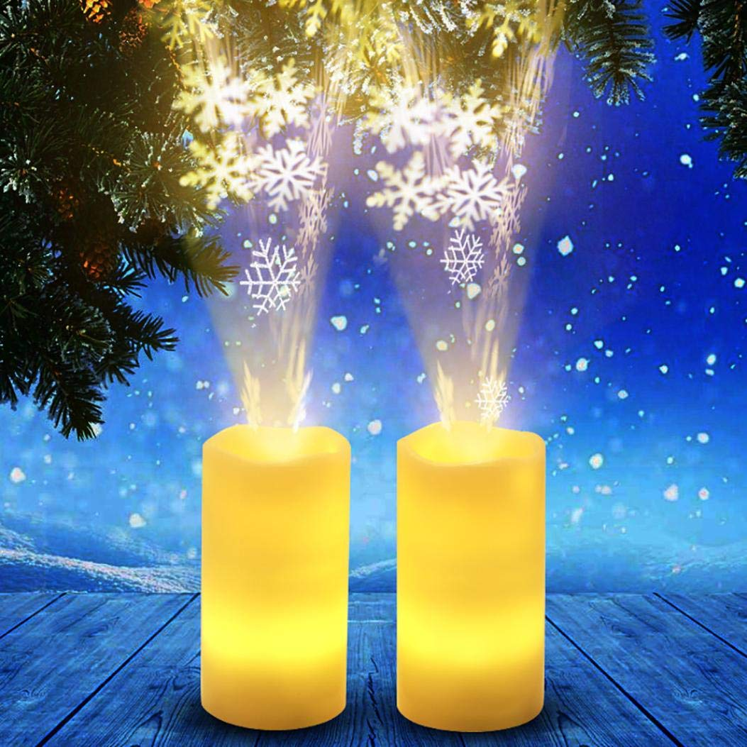 Tpingfe LED Candle Light Flameless Projection Flickering Remote Control Christmas Decor, 1pc (B)
