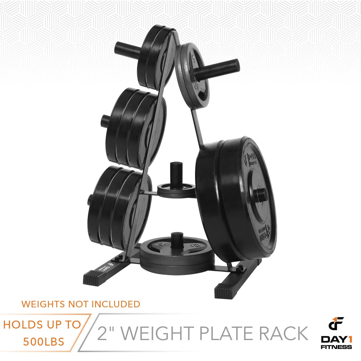 Olympic Weight Plate Rack, Holds up to 500lb of 2'' Weights by D1F - Black Weight Holder Tree with 7 Branches for Stacking and Storing High Capacity Weights- Heavy-Duty, Durable Triangle Plate Racks by Day 1 Fitness (Image #7)