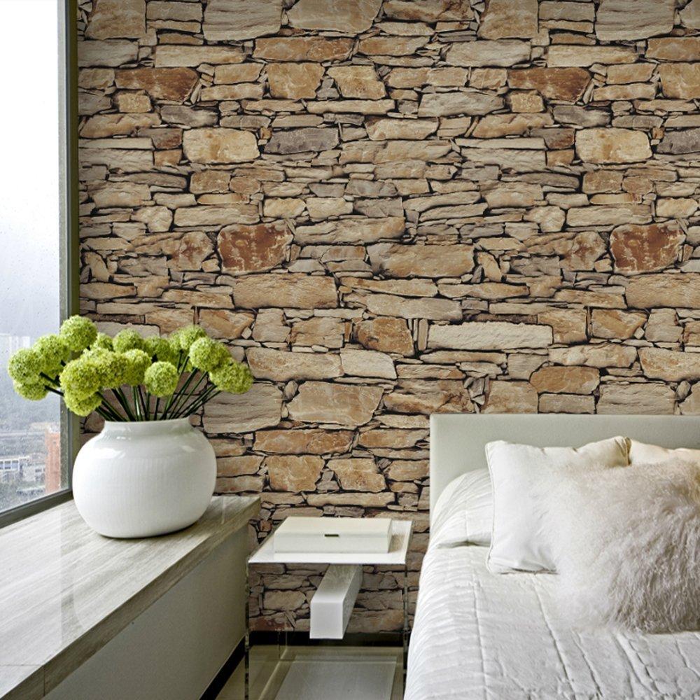 Haokhome  Vintatge Stone Wallpaper Rolls Sand Taupe Khaki Brick Realistic Designer Home Interior Decoration    Amazon Com