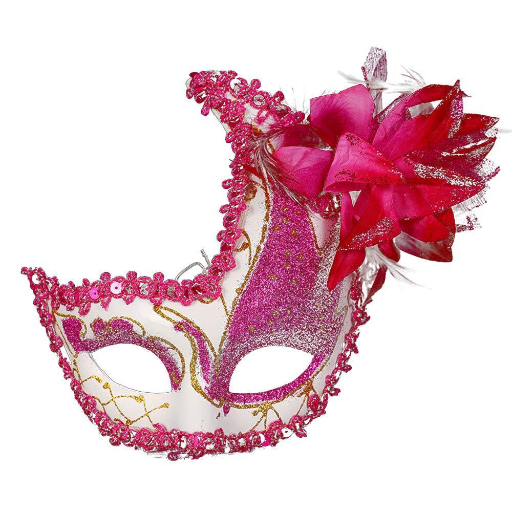 Masquerade Mask Cut Metal Masks Mardi Gras Halloween Masks for Women Makeup Party Halloween Cospay (Hot Pink)