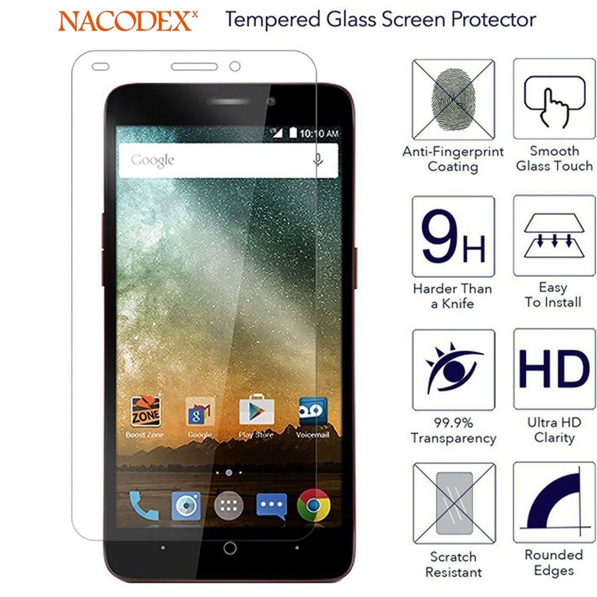 [3-Pack] For ZTE Sonata 3 Z832 Glass Screen Protector, Nacodex Premium  Tempered Glass Screen Protector 9H Hardness (For ZTE Sonata 3 Z832)