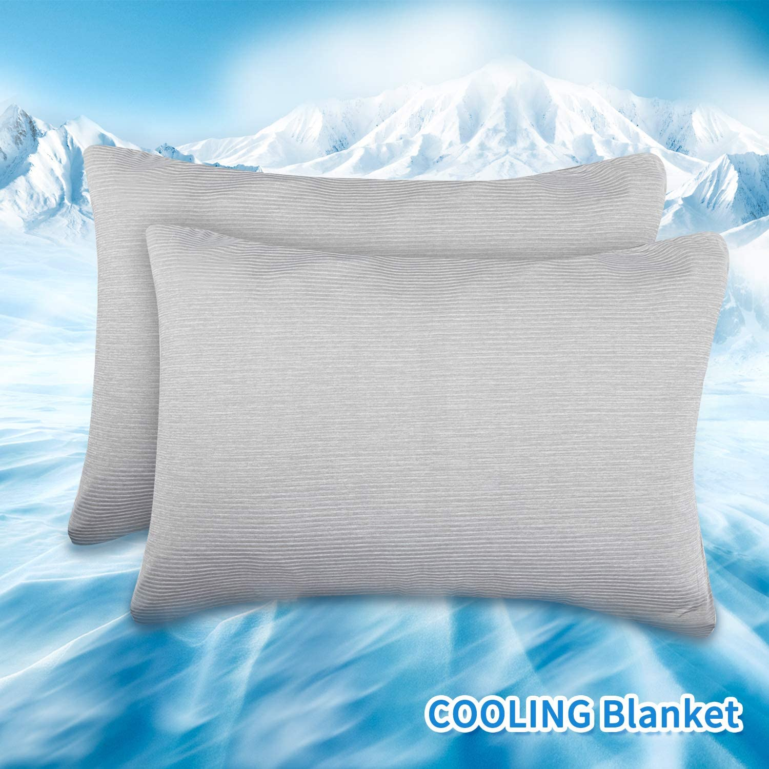 Boao 2 Pieces Cooling Pillowcases Breathable Cooling Pillow Cover for Night Sweat-Absorbent with Cool-to-Touch Technology Summer Soft Lightweight Cool Pillow Cases, Gray 19 x 29 inches