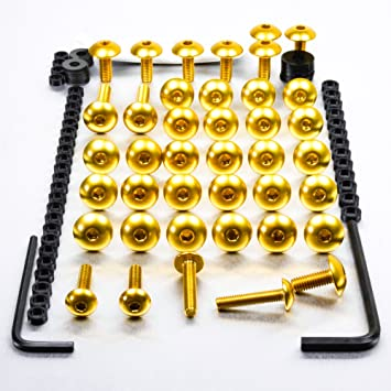 Screen Bolt Kit 2003 onwards for Yamaha YZF R6 6 bolts gold anodised alu