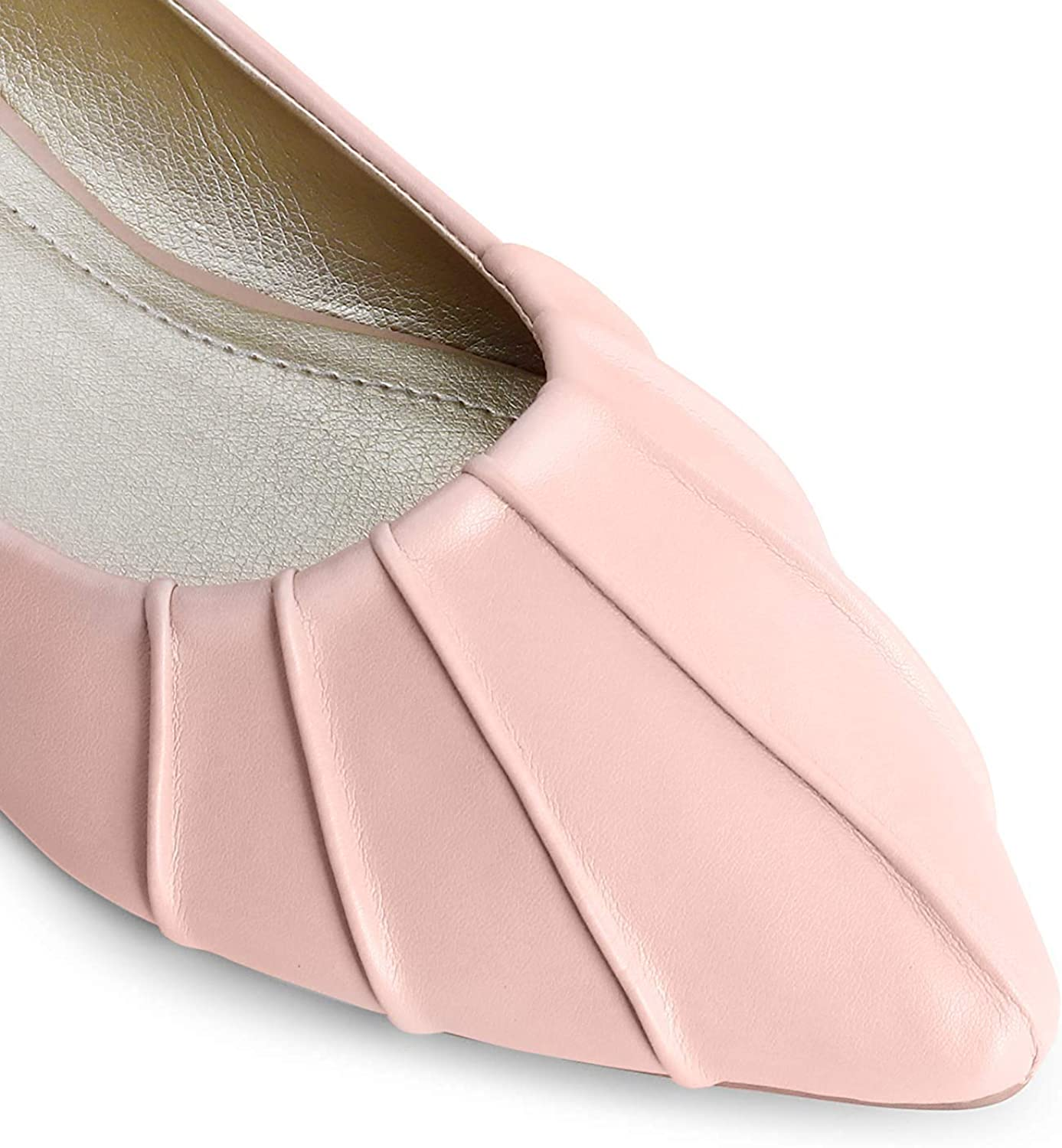 Trary Womens Pleated Pointed Toe Slip on Ballet Flat Shoes