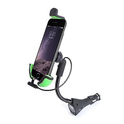 HC27K Soporte de Móvil para Coche Rotación 360º con Cargador con FM Transmisor Soporte de Smartphone