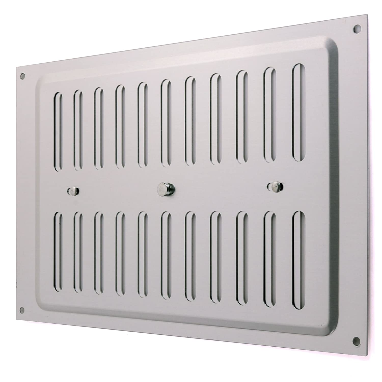 Open & Close Aluminium Air Vent 9' x 6' | Large Double Brick Hit & Miss Sliding Adjustable Grille Cover White Hinge