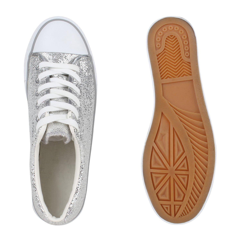 Stiefelparadies Flandell Damen Sneaker Low Glitzer Flandell Stiefelparadies Silber 9c4ecc