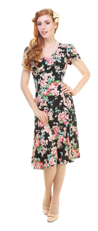 Collectif NADINE 40s Vintage FLORAL Blüten Pin Up Dress KLEID - Blk Rockabilly