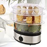 Dtemple 3-Tiers Electric Steam Cooker, Vegetable Healthy Food, Home Kitchen Favor with Timer, 9.5 Quart & 800W