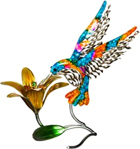 Evergreen Garden Beautiful Summer Metal Hummingbird Garden Statue - 12 x 5 x 12 Inches Fade and Weather Resistant Outdoor Decoration for Homes, Yards and Gardens