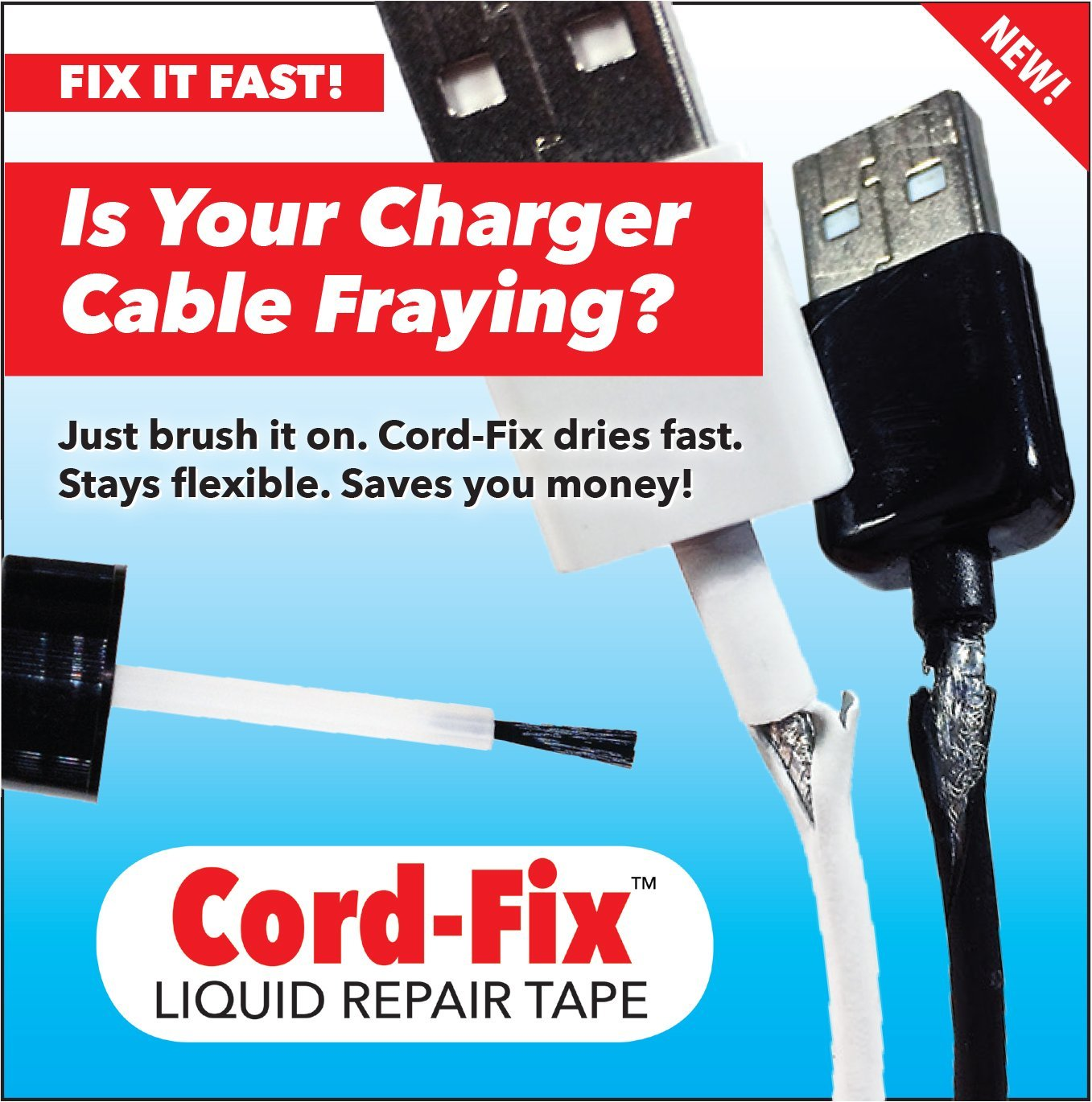 Amazon.com: Cord-Fix Liquid Repair Tape for Frayed Lightning and 30 ...