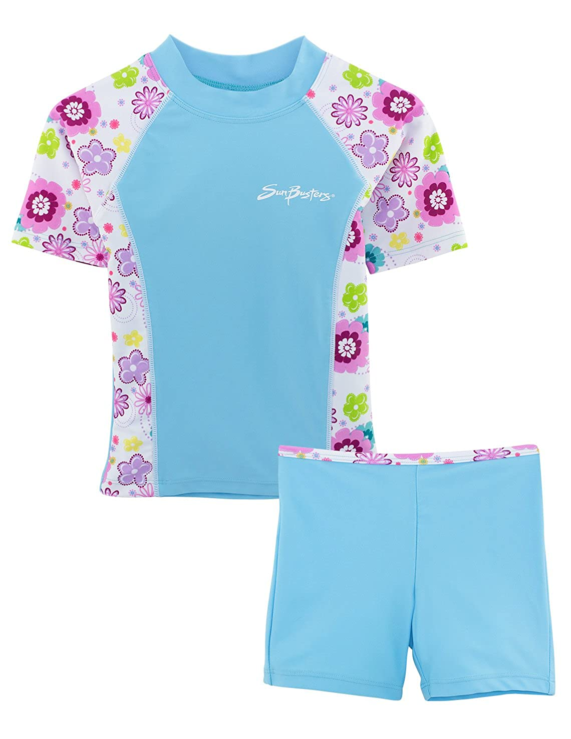 345aa03f89 Amazon.com: SunBusters Girls Fitted Swim Set 12 mos-12 yrs, UPF 50+ Sun  Protection: Rash Guard Sets: Clothing