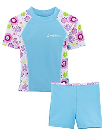 d81ddf90ab Amazon.com: SunBusters Girls Fitted Swim Set 12 mos-12 yrs, UPF 50+ ...
