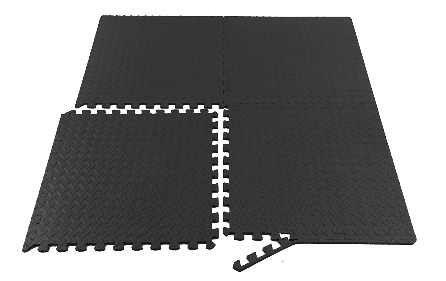 Rubber floor mats workout - Amazon Com Prosource Fs 1908 Pzzl Puzzle Exercise Mat Eva Foam Interlocking Tiles Black 24 Square Feet Sports Outdoors