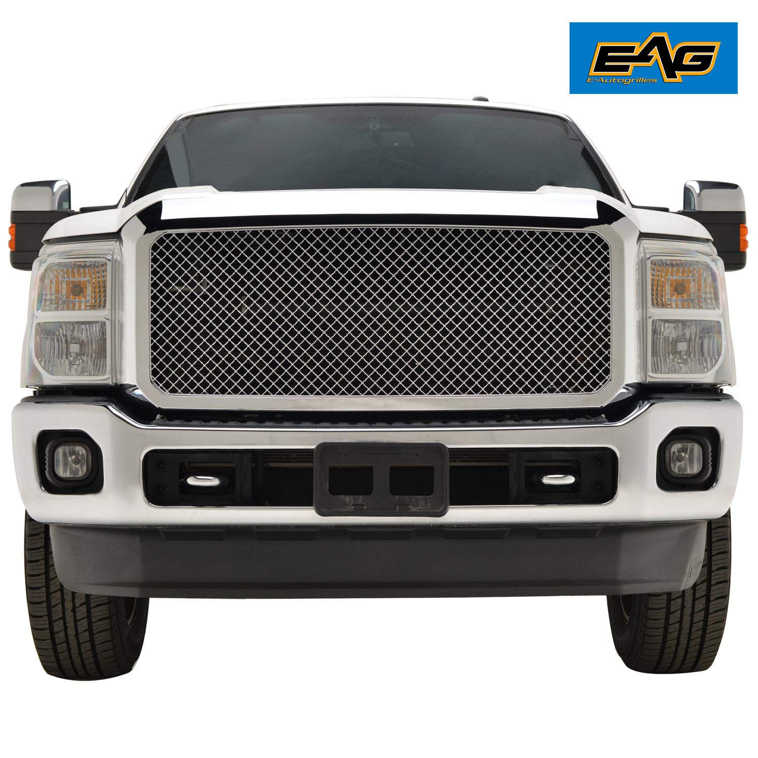 EAG Mesh Front Grille ABS Replacement Upper Grill with Shell Chrome Fit for 11-16 Ford F250//F350 Super Duty