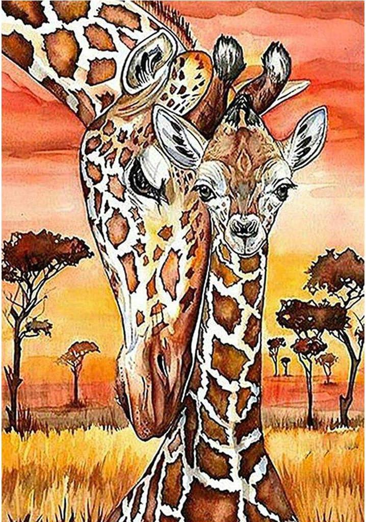 DIY 5D Diamond Painting Full Drill Rhinestone Embroidery for Adult Diamond Painting Kit Paint with Diamonds Wall Decor Giraffes (11.8X15.7inch)
