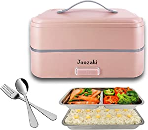 JOOZAKI Portable Electric Lunch Box Container Bento Box Rice Cooker Egg Steamer Food Heater for Office/Home/School/Travel/Construction Site 110v 2-Layer Container