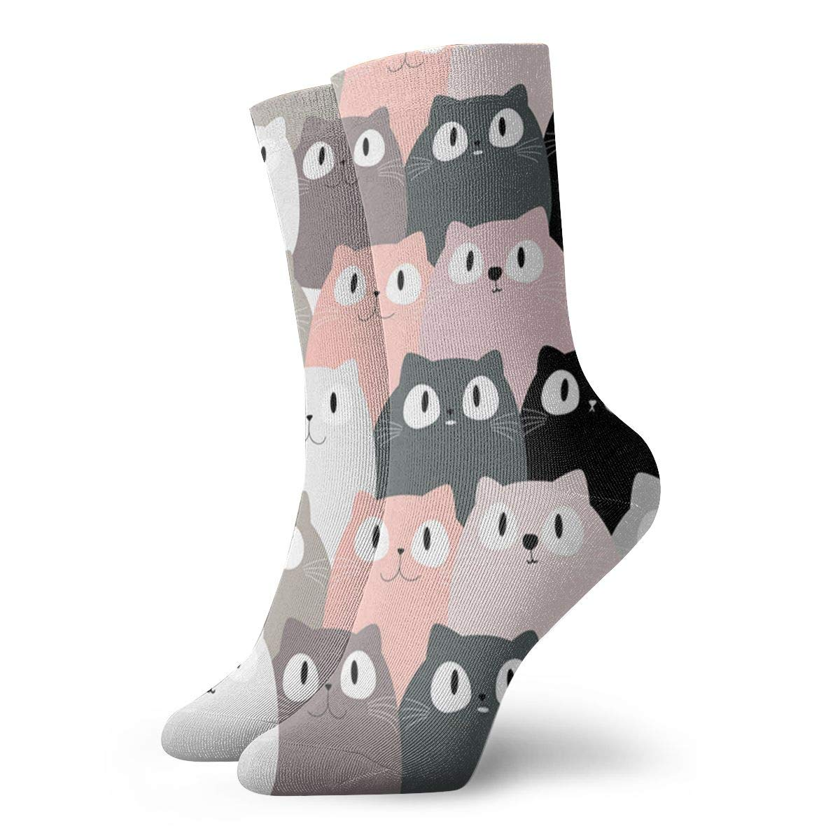 Cute-pink-cat Unisex Funny Casual Crew Socks Athletic Socks For Boys Girls Kids Teenagers