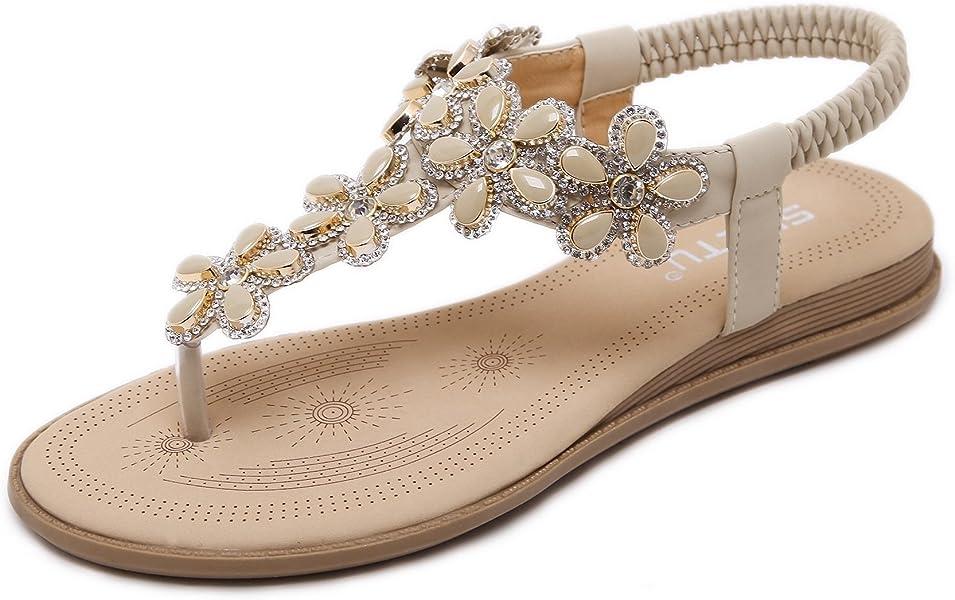 3729da01c86fe SASA FASHION Womens Flat Sandals Summer Bohemian T Strap Prime Thong Beach Shoes  for Women Apricot