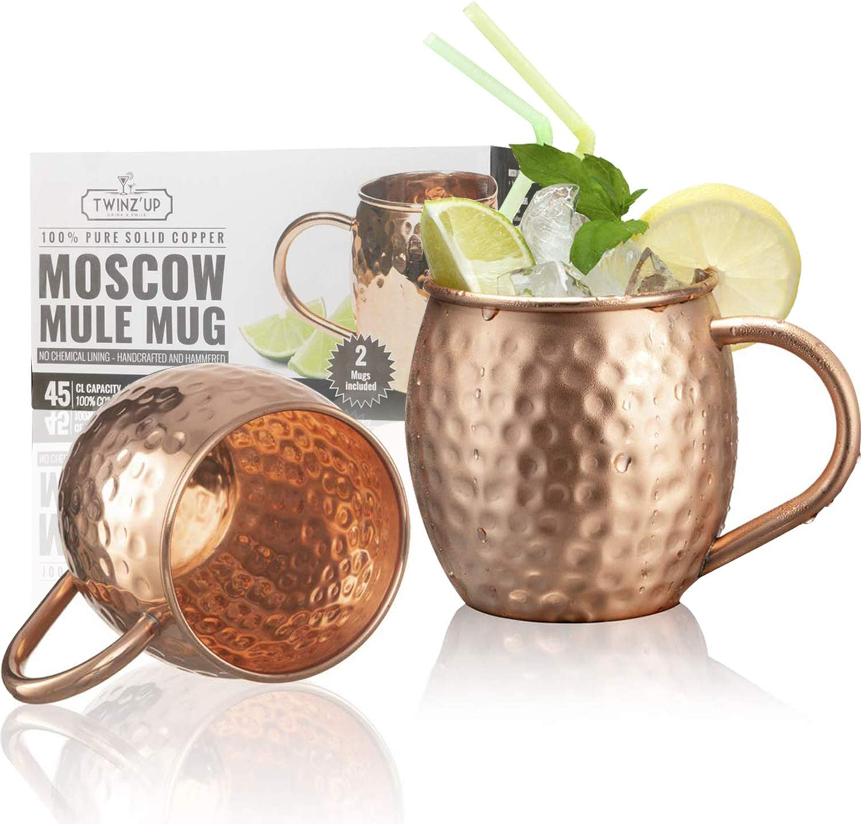 Taza de Cobre Sólido para Coctel Moscow Mule - 2 Tazas Twinz'Up - Sin Revestimiento – Jarra de Cobre Tipo Amartillado - 45 cl. de Capacidad - Ideal para Cualquier Bebida Fría - Genial para recibir vis
