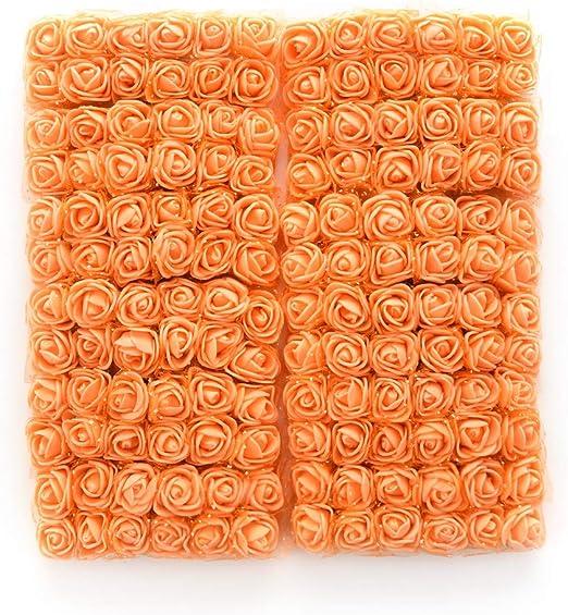 144PCS ARTIFICIAL FLOWERS MINI FOAM ROSE WITH STEM WEDDING PARTY BOUQUET DECOR