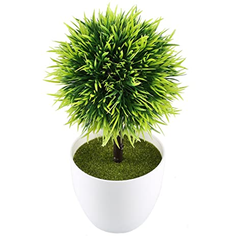 GTidea 9.5u0027u0027 Artificial Fake Potted Plants Plastic Green Topiary Ball  Shrubs With White Planter