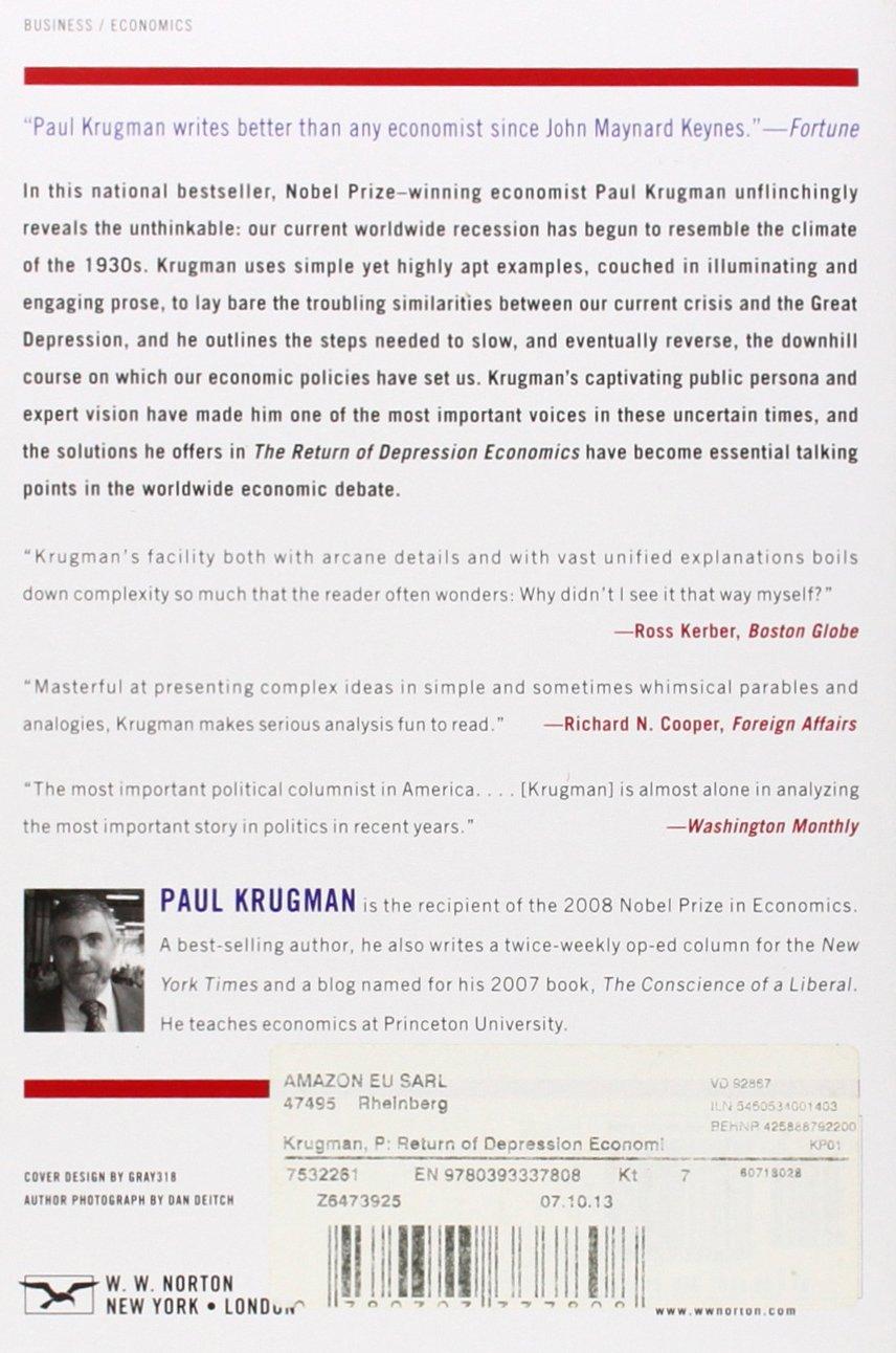 The return of depression economics and the crisis of 2008 paul krugman 9780393337808 amazon com books