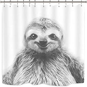 Wowzone Black and White Sloth Shower Curtain Portrait Set Funny Animal Art Print Home Bathroom Decor Fabric Panel Polyester 72x72 Inch with 12-Pack Plastic Shower Hooks