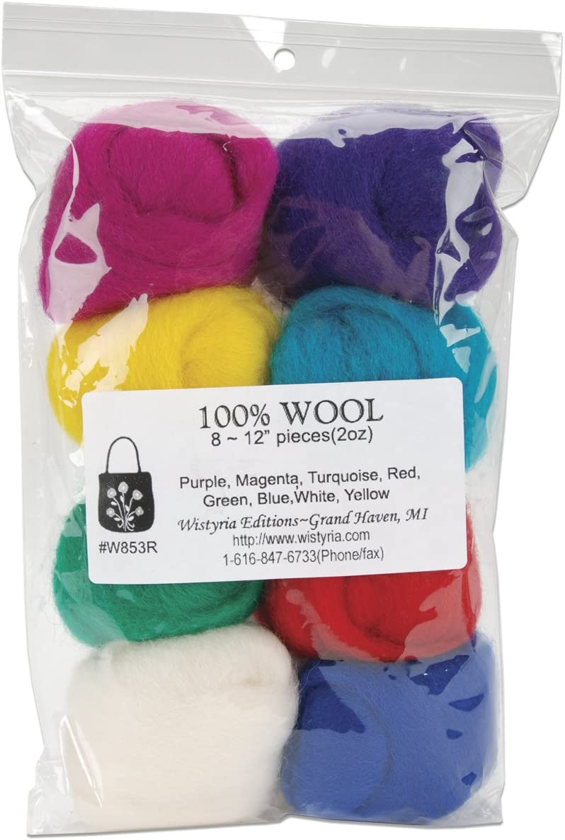 Wistyria Editions WR-910 Rustic .22oz Wool Roving 12 .25oz 8 Pack