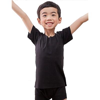 NASSE Boys Short Sleeve Cotton Soft Tee Crew Neck T-Shirts Free-Cut Undershirts