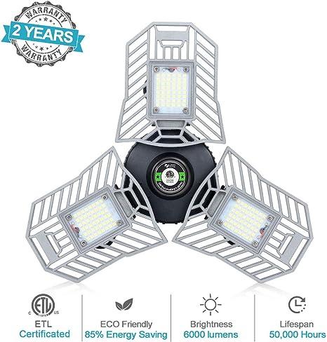 LED Garage Lights Deformable LED Garage Ceiling Light 60W 6000LM LED Shop Lamp