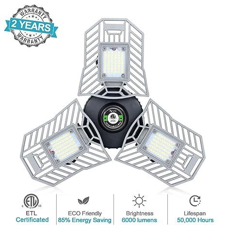 the latest c776c cac92 LED Garage Lights Deformable Tri Bright Led Light 60W Adjustable Garage  Ceiling Lights 6000Lumen Garage Lighting Compatible with E26/27 Socket(No  ...