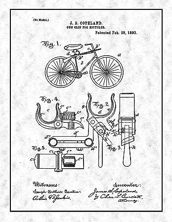 Amazon Com Gun Clip For Bicycles Patent Print Gunmetal With Border