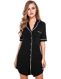 Avidlove Womens Nightshirt Short Sleeves Pajama Top Boyfriend Shirt Dress  Nightie Sleepwear 59a02de08