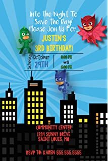 Custom Birthday Party Invitation - PJ Mask - Skyline