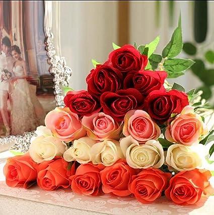 GT Flores artificiales De alto grado, flores de seda, rosas, ramas únicas,
