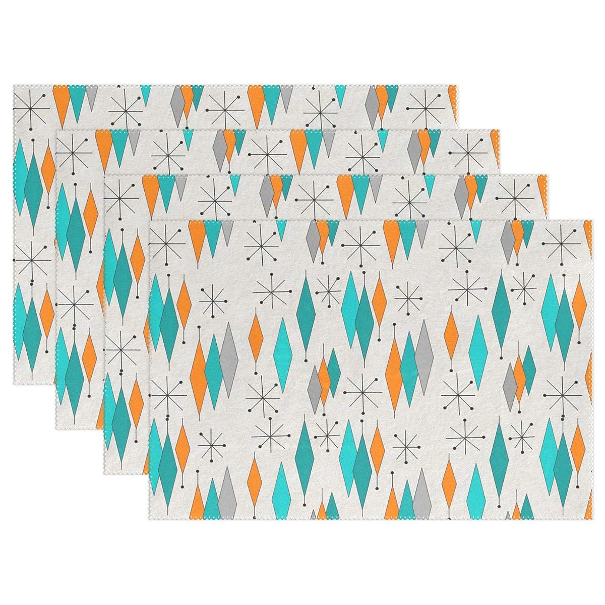 HoDeColor ミッドセンチュリーモダンダイヤモンドパターン プレースマット テーブルマット 4枚セット 12インチ x 18インチ 洗濯可能 テーブルプレースマット キッチン ダイニングルーム テーブル装飾 6 Placemats-1 6  B07K41XX78