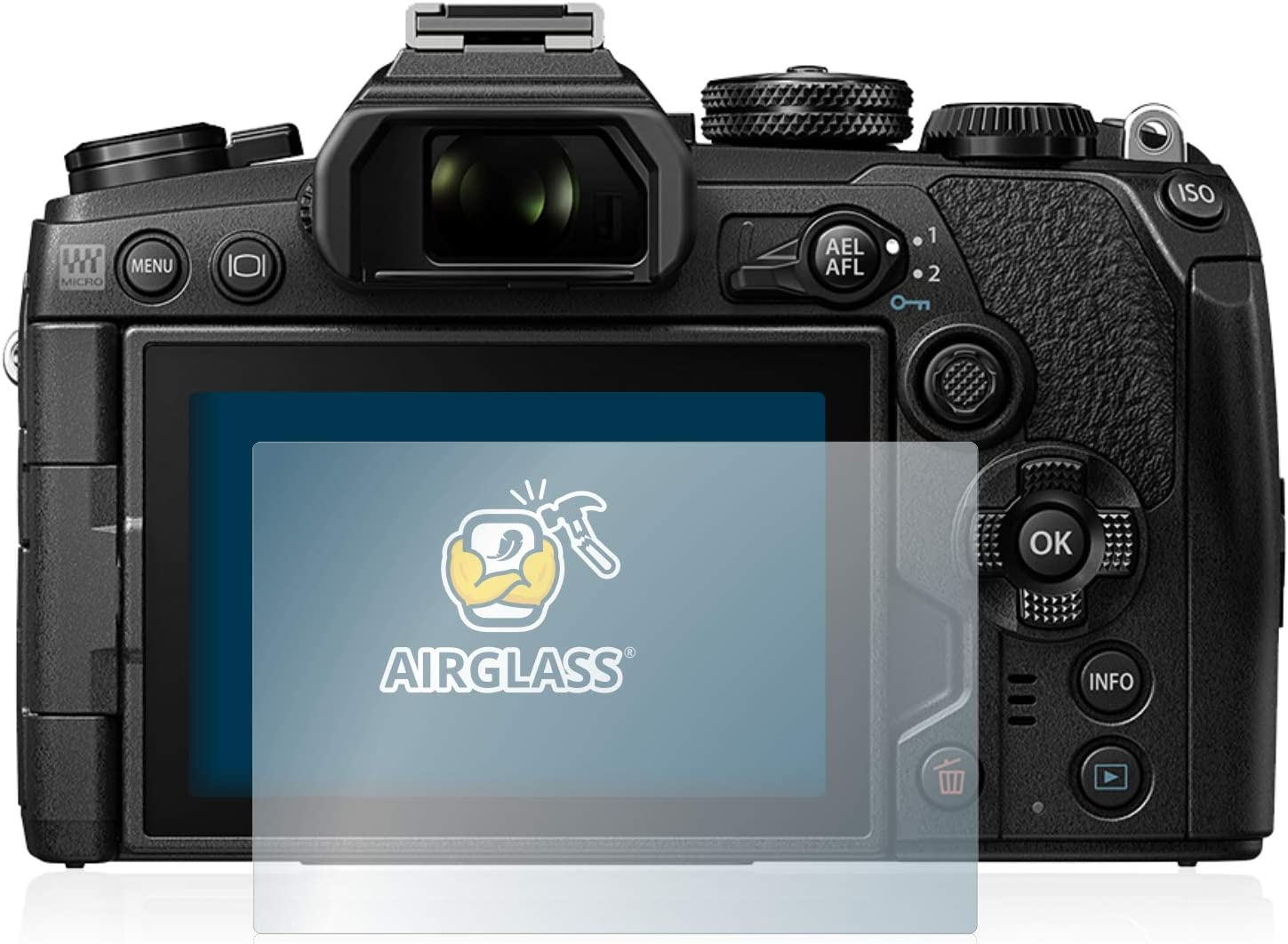 AirGlass brotect Glass Screen Protector compatible with Olympus OM-D E-M1 Mark III 9H Glass Protector