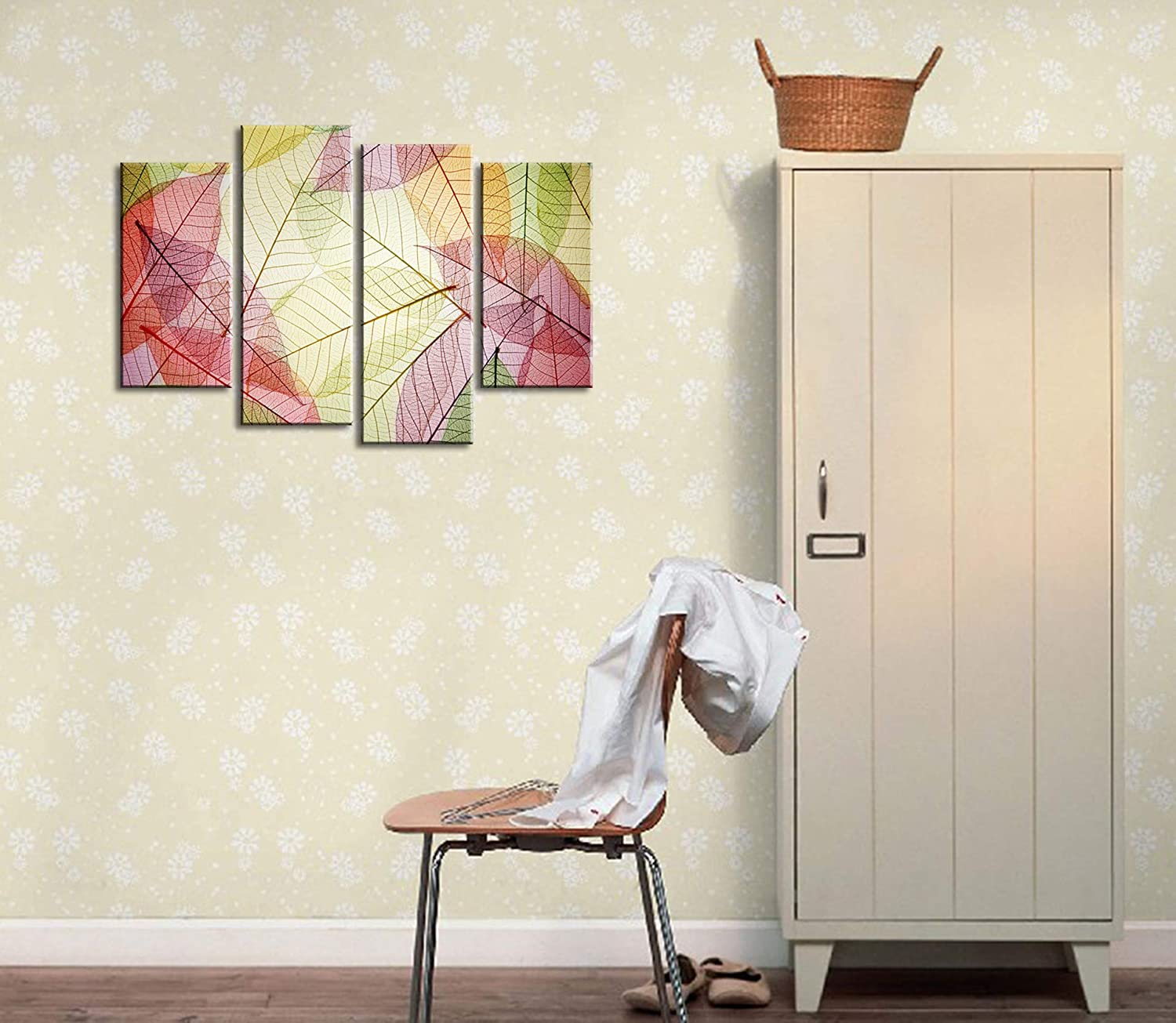 Natural art Park Landscape Abstract Tree Posters and Prints with Wooden Frame for Wall Decoration 4 Panels